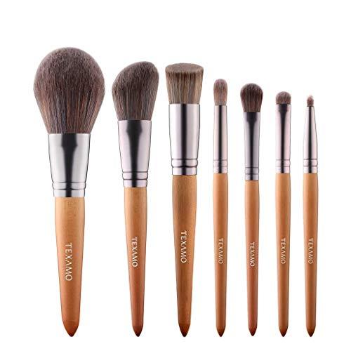 Pinceau de maquillage GCX- Bois Couleur Set 7 Sticks Pinceau Fond de Teint Maquillage Pinceau Poudre Blush Pinceau Beau