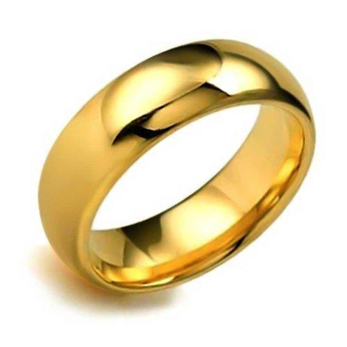 Bling Jewelry Coppie Cupola Fede Nuzia Lucidati 14K Placcato Oro Anello di Tungsteno Peri Uomini per Donne Il Massimo Comfort 8Mm