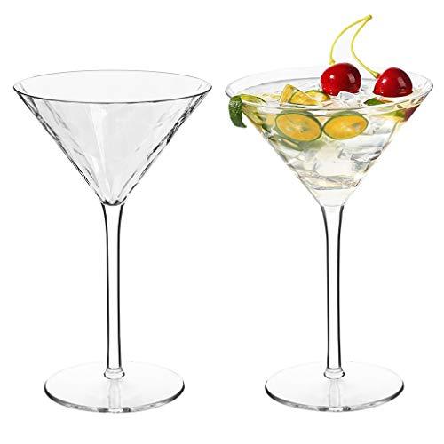 MICHLEY Incassable Verres à Cocktails Tritan-Plastique Gobelets Verres, Martini, Margarita, Mojito, 260ml, Ensemble de 2