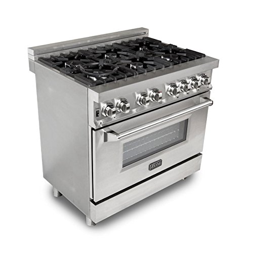 ZLINE 36 in. Professional 4.6 cu. ft. 6 Gas Burner/Electric Oven Range in Stainless Steel (RA36)