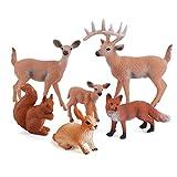 Bestshop 6 juguetes de figuras de animales del bosque, figuras de ciervo, juguete realista, hecho a mano, criaturas, juguetes, decoración de criaturas del bosque, para niños y niñas de 3 a 4 a 5 años