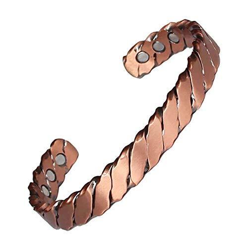 Pulsera magnética de cobre para hombres y mujeres, pulsera de cobre retro europea y americana