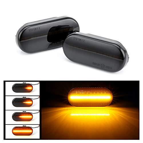 ALOPEE - 1-Para Schwarz Rauch Bernstein Dynamische Seitenmarkierungsleuchten Blinker Sequentielle Blinkleuchte Canbus Fehlerfreie Lampe für Bora Golf 3 4 Passat 3bg Polo sb6