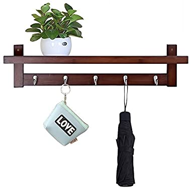 Genenic Bamboo Wall Mount Shelf,Coat Hook Rack Unibody Construction with 5 Alloy Hooks for Bedroom,Kitchen,Bathroom and Home Decoration