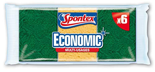 SPONTEX - Economic' - 6 éponges grattantes vertes