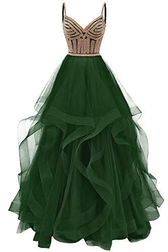 HUINI Abendkleider Lang Trägerlose Ballkleider Brautkleider Tüll V-Ausschnitt Schlicht Hochzeitskleid Festkleider Olivgrün 50