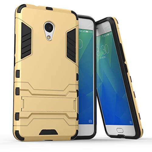 tinyue® Handyhülle für Meizu M5S, Hülle 2 in 1 Material Harte Schwer doppelte kratzfester Handyfall im Freienhandyfall Iron Man Rüstung mit Kickstand Hülle, Gold
