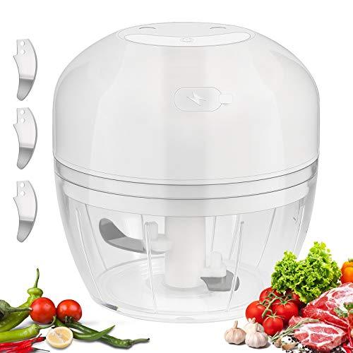 HALOVIE Picadora de Alimentos,300ML Picador de Ajo Eléctrica Cocina Procesador de Alimentos...