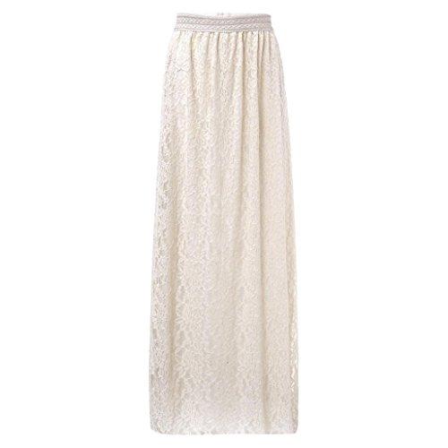 Gusspower Mujer Elegante Recta Larga Falda De Tutu De Tul Longitud Encaje Boho Maxi Faldas De Baile (Beige, L)