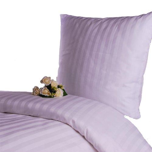 Hans-Textil-Shop Damast Hotelbettwäsche 135x200 cm Streifen 20 mm Weiß