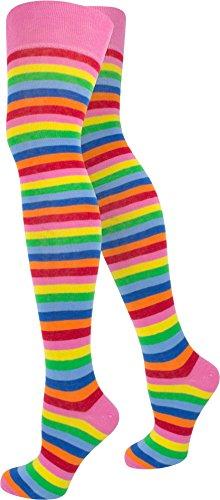 normani 3 Paar Damen Overknees Kniestrümpfe Geringelt handgekettelte Fußspitze wählbar Farbe Bunt/schmal