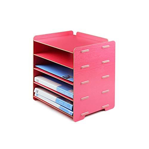 Estantería multifuncional Creativo de madera Estantería de libros, archivos del Gestor de bastidores estantería de almacenamiento de datos, de 5 capas Revistero, Escritorio libro Carpeta Archivo Rack