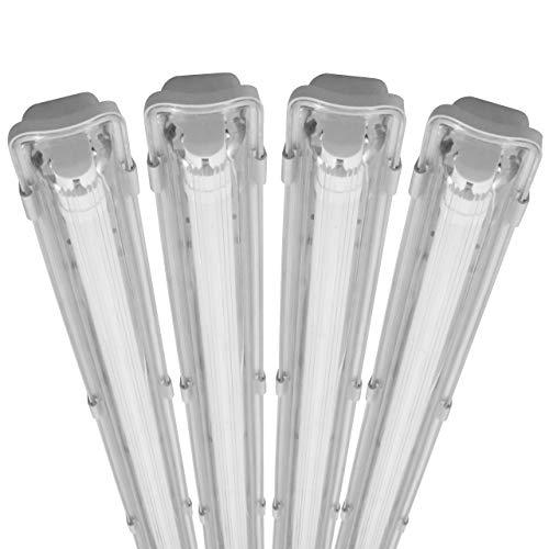 proventa® Luminaria pantalla estanca LED IP65 120 cm. Tubo LED incluido 4.000K 18W 1.800 lúmenes. Protección IK08. Clase energética A+. Set ahorro 4 unidades
