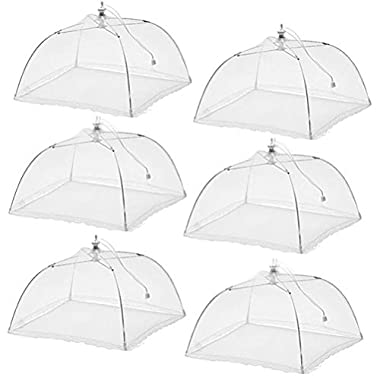 (6 Pack) Esfun Large Pop-Up Mesh Screen Food Cover Tent Umbrella, 17 inch, Reusable and Collapsible Outdoor Picnic Food Covers Mesh, Food Cover Net Keep Out Flies, Bugs, Mosquitoes