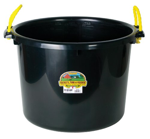 Little Giant Plastic Muck Tub (Black) Durable & Versatile Utility Bucket with Handles (70 Quart) (Item No. PSB70BLACK)