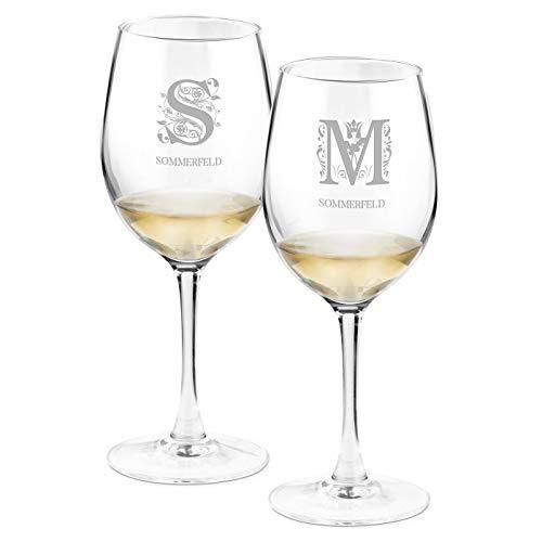 Murrano Weinglas mit Gravur für Paare 350 ml - 2er Weingläser Set - personalisiert - Rotweingläser Weißweingläser - Geschenk Hochzeit Hochzeitstag - Initialien