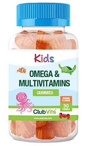 Childrens DHA Omega 3 Multivitamin 30 Gummies   Orange Flavour No Fishy Taste Kids by ClubVits