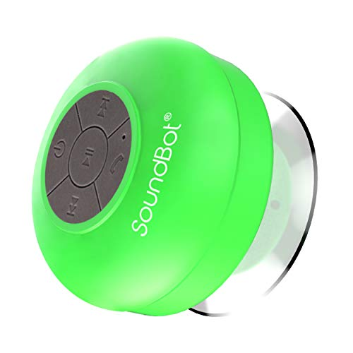 SoundBot SB510 HD Water Resistant Bluetooth Wireless Shower Speaker, Hands-Free Portable Speakerphone w/ 6Hrs of Playtime, Built-in Mic, Control Buttons & Detachable Suction Cup for Indoor & Outdoor