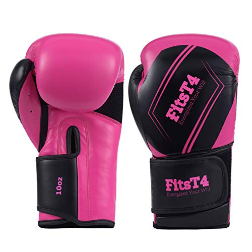 FitsT4 Pro Grade Boxing Gloves PU Leather Kickboxing Muay Thai Punching Bag MMA Sparring Training Fight Glove