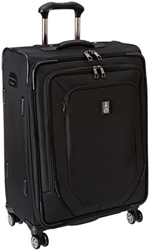 Travelpro Crew 10-Softside Expandable Luggage with Spinner Wheels, Black, Checked-Medium 25-Inch