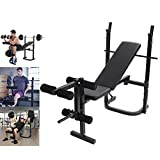 Adjustable Weight Bench with Squat Rack, Leg Extension and Leg Curl for Home Gym Ab Exercises...