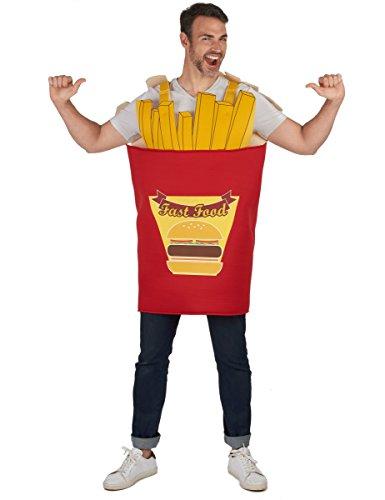 Vegaoo - Pommes-Tüte Kostüm für Erwachsene rot-gelb - Einheitsgröße