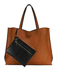 """High quality synthetic vegan leather. Magnetic closures. Classic gold hardware. Coin bag with zipper closure. Shoulder strap drops 9.5"""". Tote bag is reversible could be flipped into two colors. Size: 17.5"""" x 13"""" x 5.5"""""""