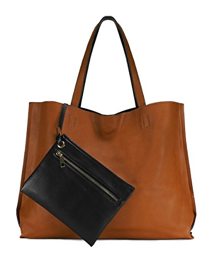 Scarleton Stylish Reversible Tote Handbag for Women, Vegan Leather Shoulder Bag, Hobo bag, Satchel Purse, Camel/Black, H18422501