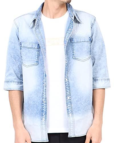 [ガッチャ] GOTCHA シャツ 接触冷感 六分袖 ストレッチ デニムシャツ 212G1500 インディゴ L