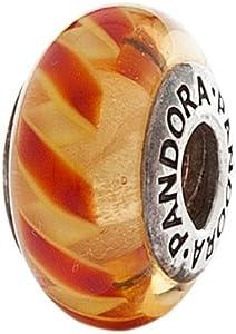 Pandora 790624 - Cristal de Murano transparente, diseño de rayas, color naranja y rojo