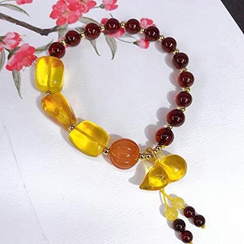Natural Feng Shui Curación Cristal Pulsera 7a Lucky Wu Lou Charm Balance Pulsera Multi-gem Beeswax Southern Red Agate Joyería Amuleto Atrae Dinero Prosperidad Suerte