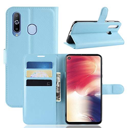 LMFULM® Hülle für Samsung Galaxy A8s (6,4 Zoll) PU Leder Magnet Brieftasche Lederhülle Handytasche Litschi Muster Standfunktion Ledertasche Flip Cover für Galaxy A8s Blau
