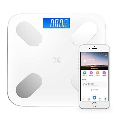 ZTXY Escala de Grasa Corporal de Peso Corporal Digital Básculas de baño con aplicación para Smartphone USB Carga Cuerpo analizador de composición 180KG Blanco