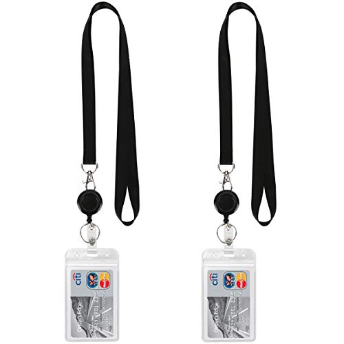 YOUOWO Lanyard Black Retractable Badge Reel with ID Badge Holder with Badge Reel Clip for Card Badges Holders Vertical Punched Zipper Waterproof 2 Pack
