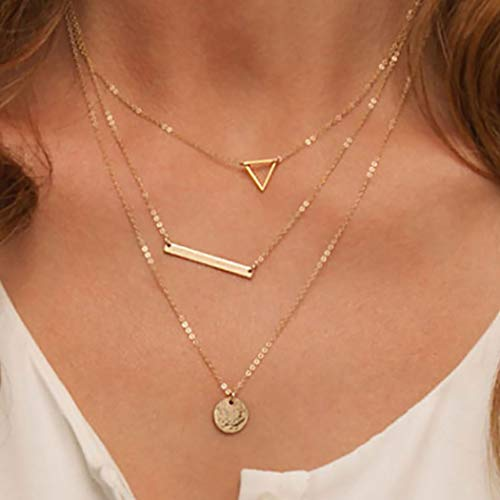 Bohend Fashion Layered Circle Necklace Gold Bar Necklaces Triangle Multilayered Neck Chain Jewelry for Women and Girls