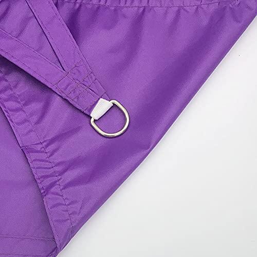 QAZW Vela Triangular para Sombrilla, Color Beige con Tiras Blancas, Toldo de Protección UV Duradero para Patio, Patio Trasero, Exterior, con Kit de Fijación Gratuito,Purple-16.4'x16.4'x16.4'