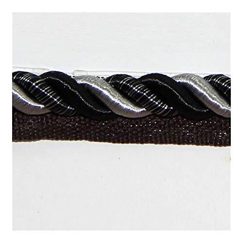 Conveniencia 1M trenzado Macrame cordón de ajuste Banda Inicio ajuste de la decoración de costura del cordón de tuberías curvo Almohada ala cuerda Accesorios for la ropa Garantizar (Color : Black)