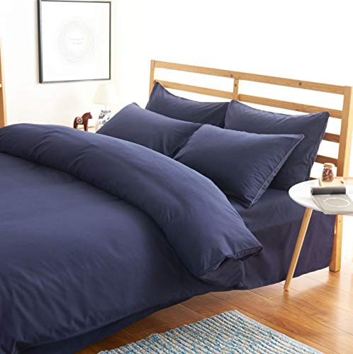 Teyun. Bett Bettwäsche-Set aus Baumwolle Bettwäsche Hochwertige High-Density-Brushed Bettwäsche Pillowcase Geeignet for Wohngebäude (Color : Dark Blue, Size : 150-180CM)