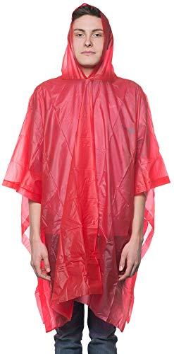 AceCamp 5 x Unisex Einweg Regen-Poncho mit Kapuze, Notfall-Poncho, Regen-Cape, Regen-Mantel, Wasserdicht, Festival, Konzert, Outdoor, Rot, 39074