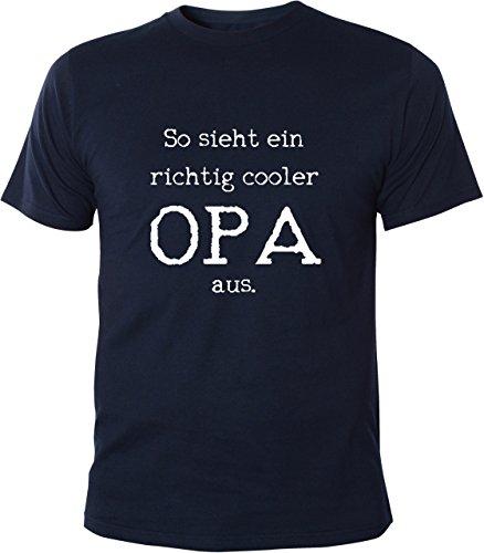 Mister Merchandise Witziges Herren Männer T-Shirt Großvater Grandad So Sieht EIN richtig Cooler Opa aus, Größe: XL, Farbe: Navy