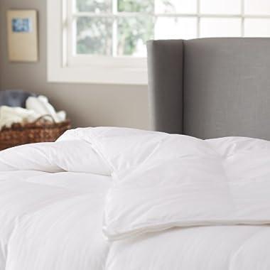 Pinzon Hypoallergenic White Duck Down Comforter, 100% Cotton Cover - Medium Warmth, King
