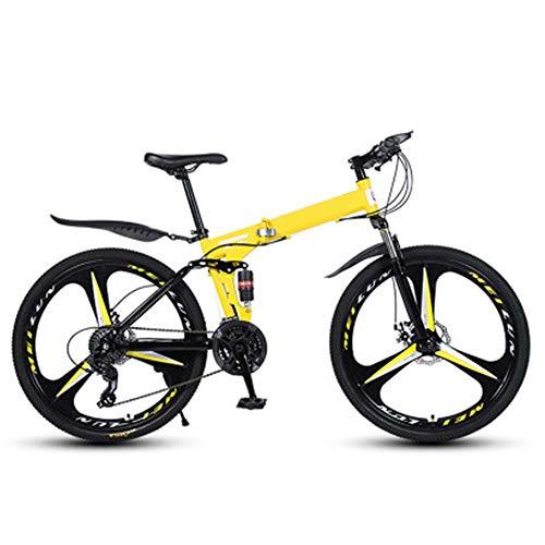 Bicicleta Plegable Bike Ligera Assorción di Doble Choque 26 Pulgadas 21 Velocidad Bicicleta Portátil Plegado Rápido Bicicleta Urbana Para Estudiant Adultos De La Ciudad,Amarillo