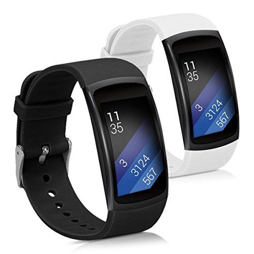 kwmobile Armband kompatibel mit Samsung Gear Fit2 / Gear Fit 2 Pro - 2X Silikon Fitnesstracker Sportarmband