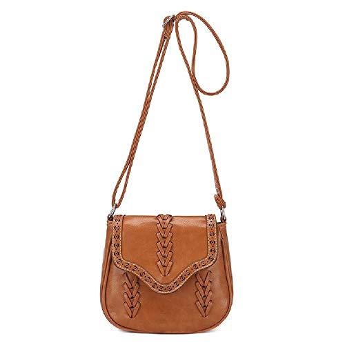 Amiemie dames retro wind geweven hand-held schoudertas diagonaal crossbag 20 cm x 9 cm x 18 cm/lichtbruin
