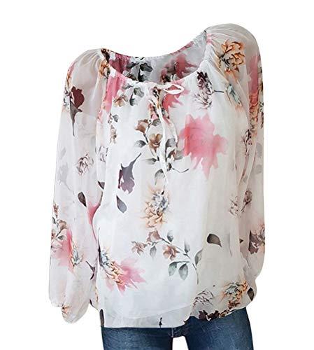 Minetom Damen Sommer Elegant Kurzarm Bluse Mit V-Ausschnitt Feder Drucken Blusenshirt Oversize Tunika Hemdbluse Tops D Weiß L