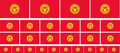 Mini Aufkleber Set - Pack glatt - 4x 51x31mm+ 12x 33x20mm + 10x 20x12mm- Sticker - Kirgisistan - Flagge - Banner - Standarte fürs Auto, Büro, zu Hause & die Schule - Set of 26