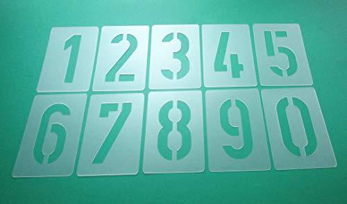 Zahlenschablone Nr.35 | Zahlenhöhe 30cm | 1 Satz Zahlen 0-9 | 10 einzelne Schablonen | Malerschablone | Wandschablone