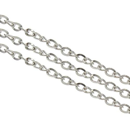Perlin 3 Meter Gliederkette Link Kette Metallkette Oval Panzerkette 3 x 4 mm Altsilber Schmuckkette Meterware zur Schmuckherstellung von Halsketten Armband DIY Basteln K21
