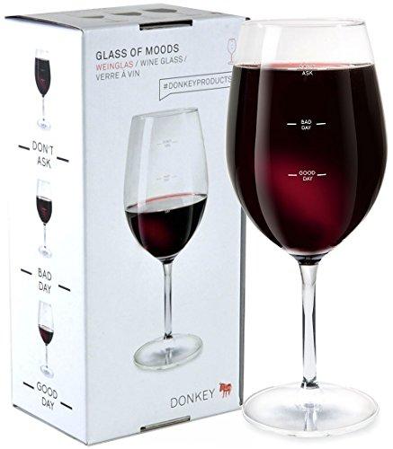 Donkey Products - Glass of Moods | Lustiges XL Weinglas mit aufgedrucktem Stimmungsbarometer - Good Day Bad Day Don't Ask - 560ml
