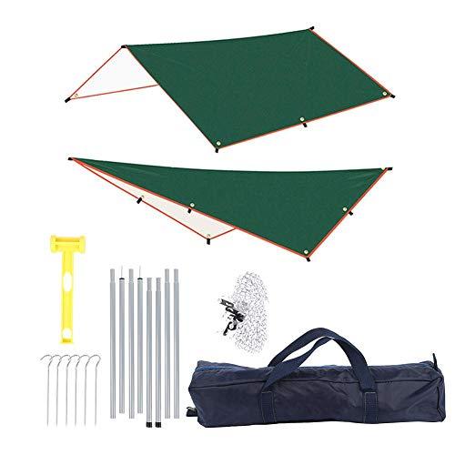 Huakii Toldo para Acampar, toldo para sombrilla Duradero, Revestimiento de Plata Impermeable, Verde para Acampar al Aire Libre